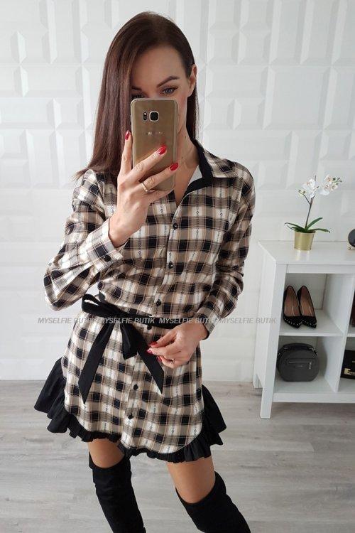 Sukienka SISSI czarno-beżowa krata
