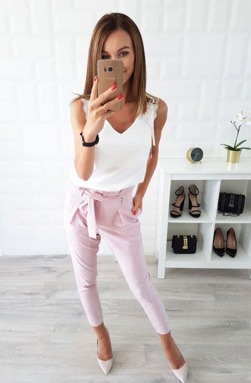 Spodnie PURE różowe w białe paski