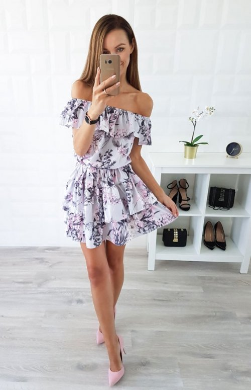 Sukienka LATIKA szara w różowe kwiaty