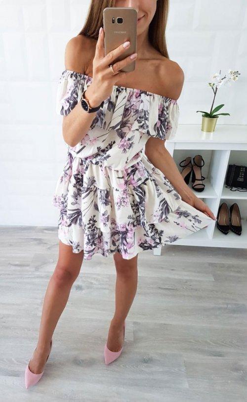 Sukienka LATIKA ecru w różowe kwiaty