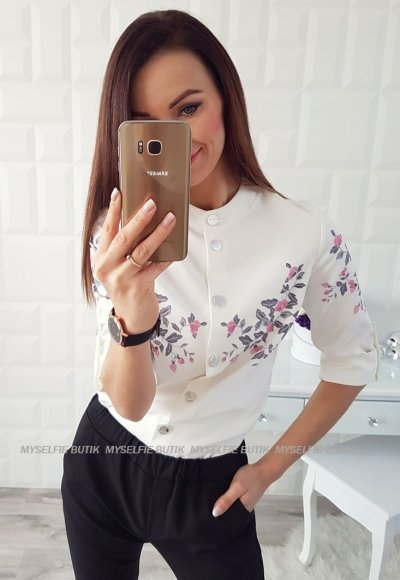 Koszula KELLY biała w różowe kwiatuszki