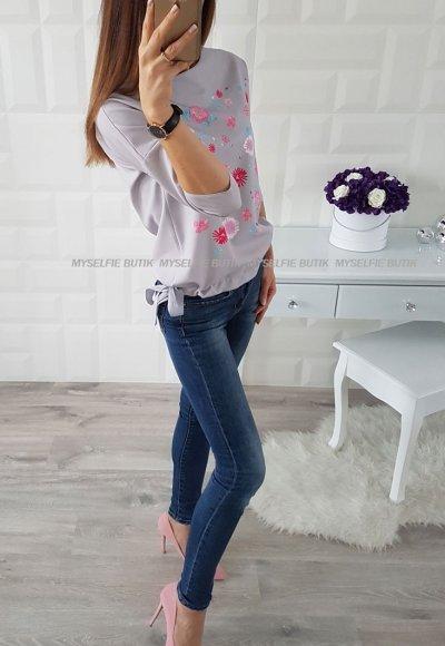 Bluzka LARA szara w kwiaty