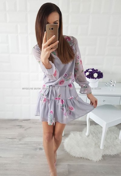 Sukienka CAOLA szara wzory