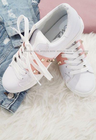Adidasy PINK PLACE biało różowe ze złotymi dżetami
