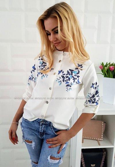 Koszula KELLY biała w niebieskie kwiatuszki
