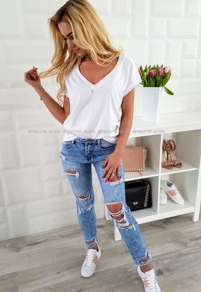 Spodnie boyfriend LAULIA jasny jeans