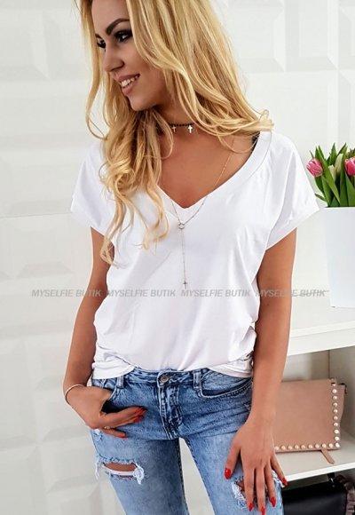 T- shirt V biały