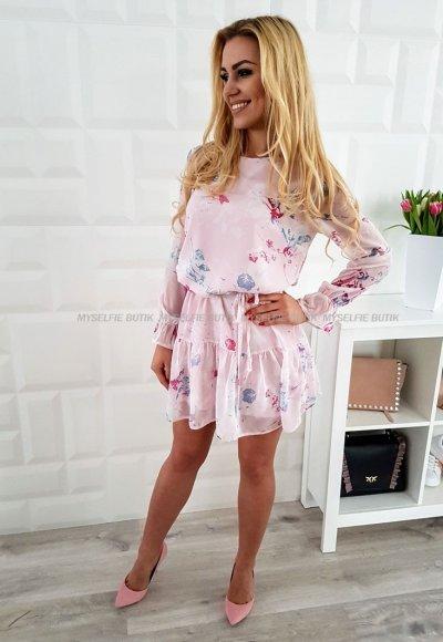 Sukienka CAOLA różowa w kwiaty