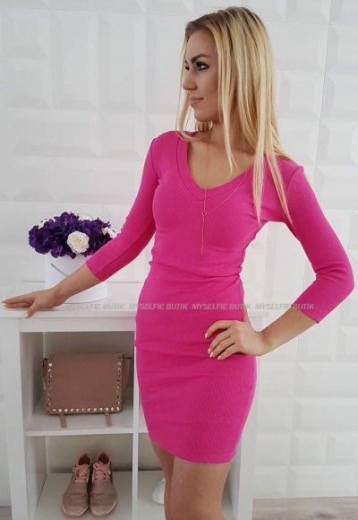 Sukienka SIGMA V malinowy róż