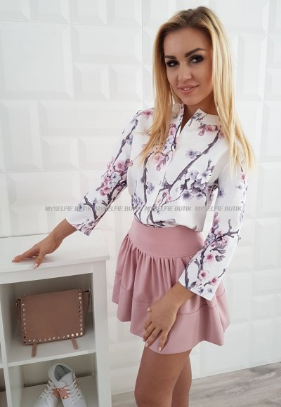 Koszula ELENZA biała w kwiaty