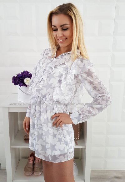 Sukienka NOEL biało szara