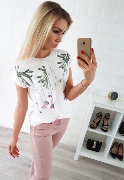 Koszula KELLY biała w różowe kwiatuszki i zielone liście