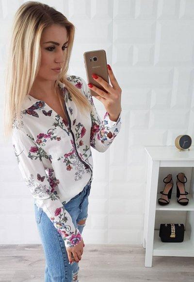 Koszula SANTANA biała w kwiaty