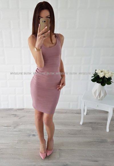 Sukienka SIGMA NAKED ARMS brudny róż