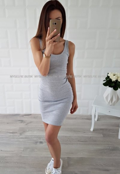 Sukienka SIGMA NAKED ARMS jasna szarość