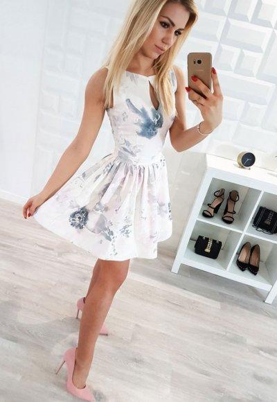 Sukienka FELICIA odcienie bieli, szarości, różu