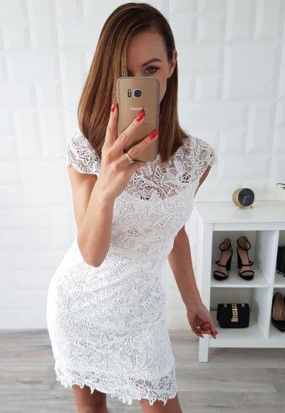 Sukienka EVA koronka biała