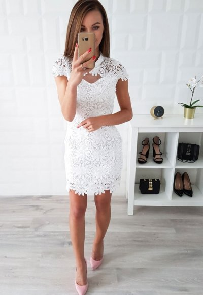 Sukienka SILESIA koronka biała