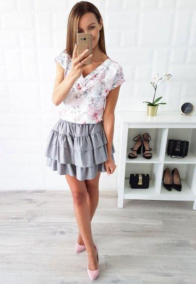 Bluzka ELENA różowe kwiaty