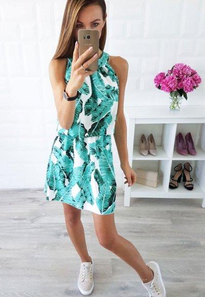 Sukienka LARA liscie zielone