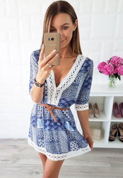 Sukienka BONITA niebieska we wzory