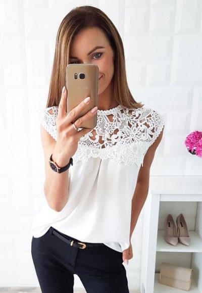 Bluzka SOFIA biała z koronką