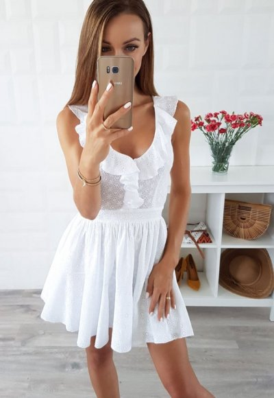 Sukienka CARMEN biała ażurowa