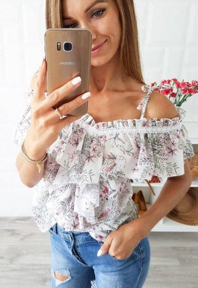 Bluzka LAOLA biała w kwiatowy wzór