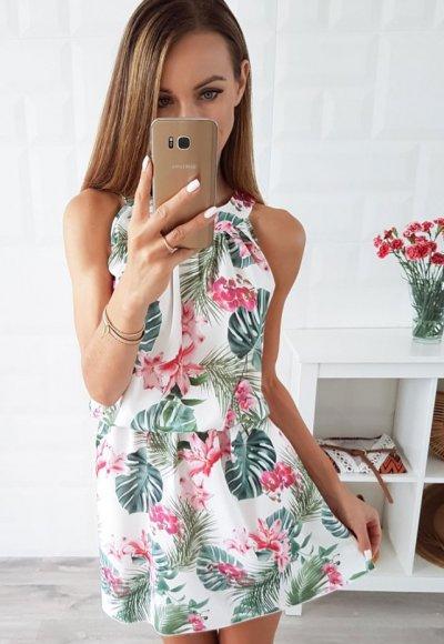 Sukienka LARA kwiaty malinowe